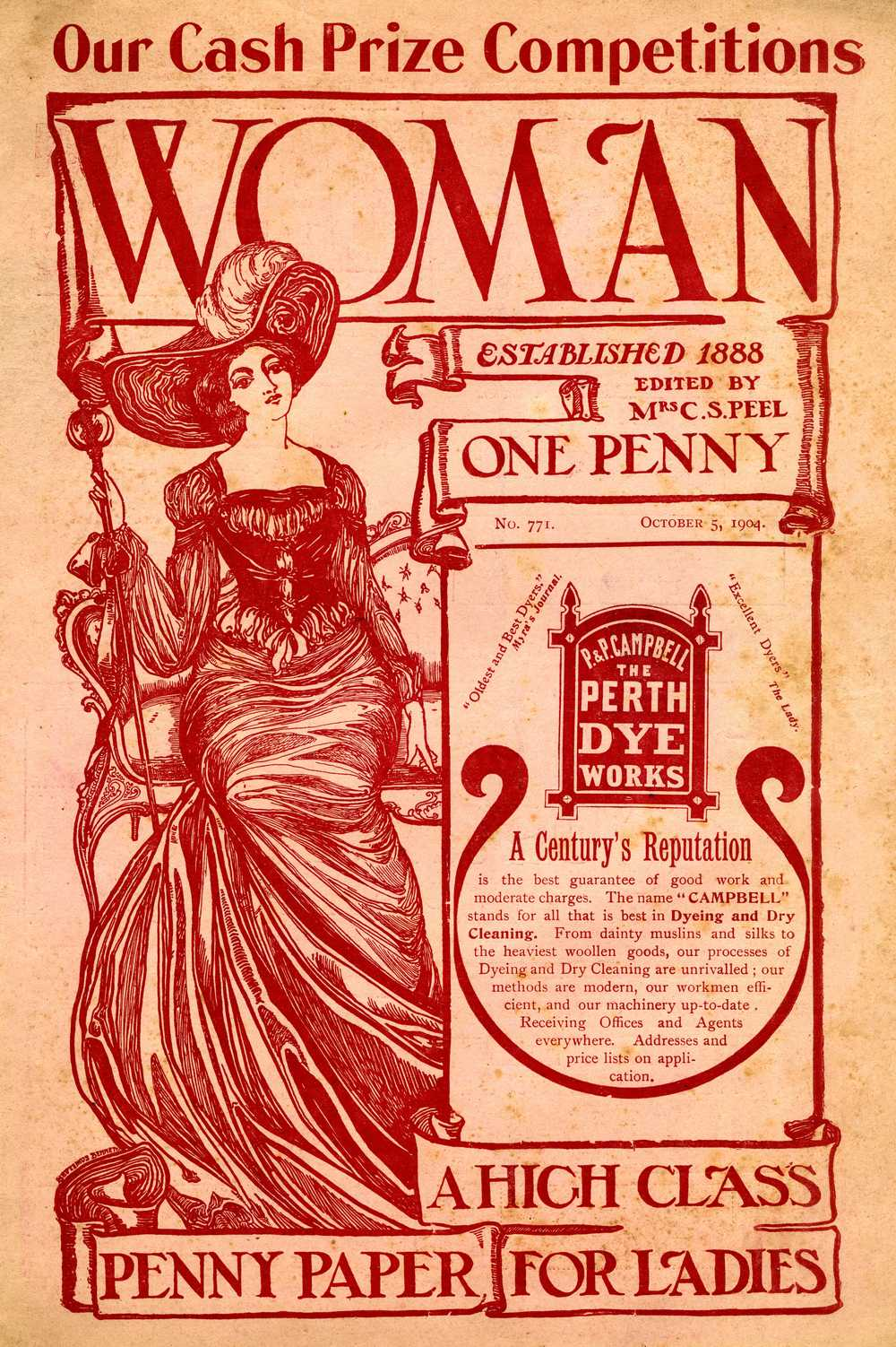 Woman magazine from 1904 with a cover design by Septimus Bennett, younger brother of Arnold Bennett, the Potteries novelist and the magazine's former editor.