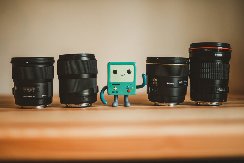From left to right : Sigma 24 - Sigma 35 - BMO - Sigma 85 - Canon 135