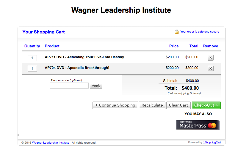 (screen shot from the wagner Leadership institute)