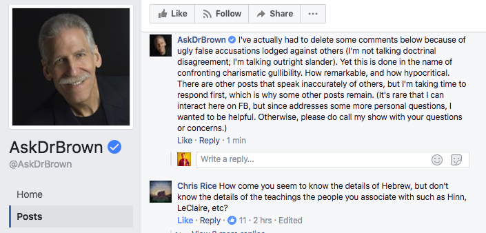 Dr. Brown Made This Comment But Then Later Deleted the entire Post.