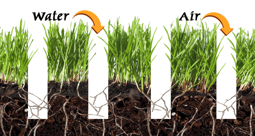 Aeration allows air and water into the soil, benefiting grass roots in many ways
