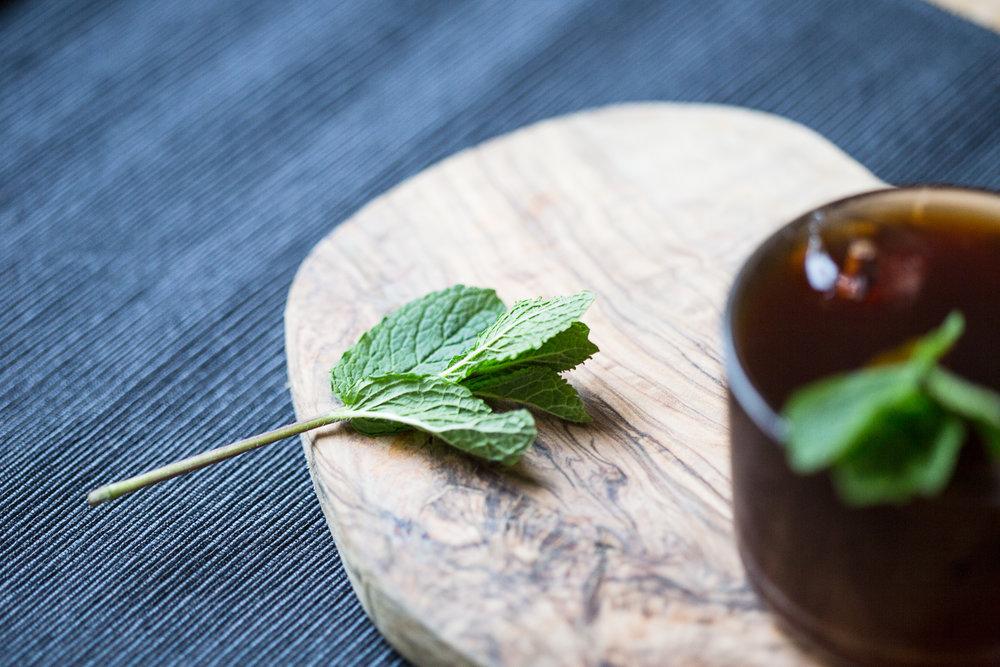 Mint leaf- ice tea detail
