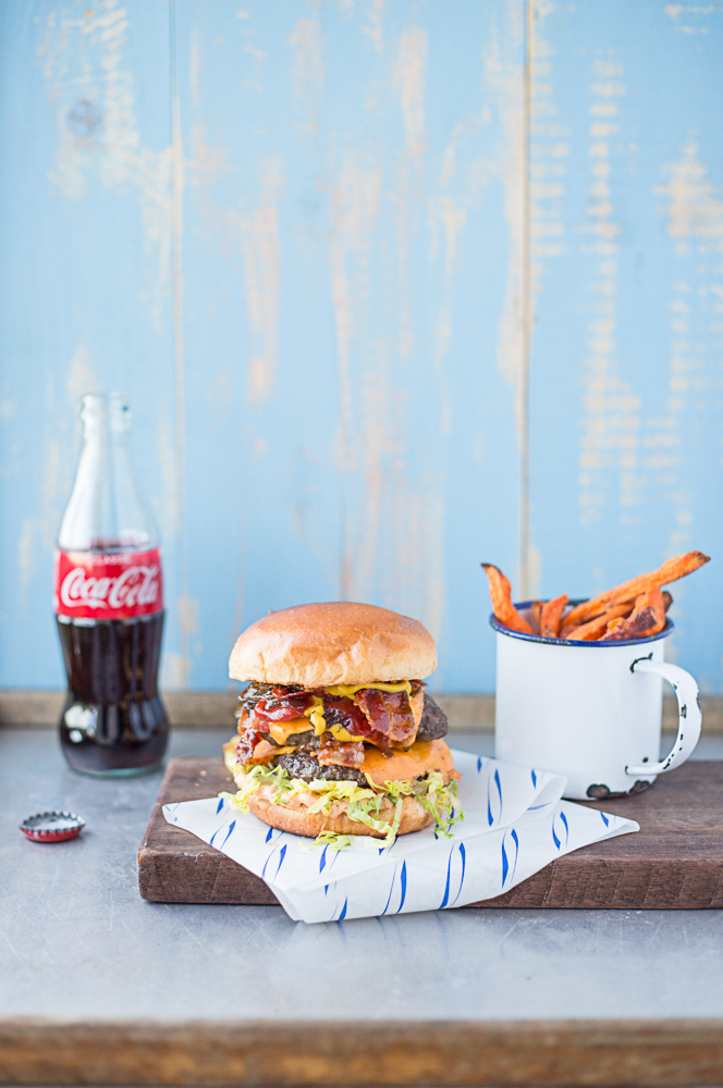 venison burger with pancetta and sweet potato fries