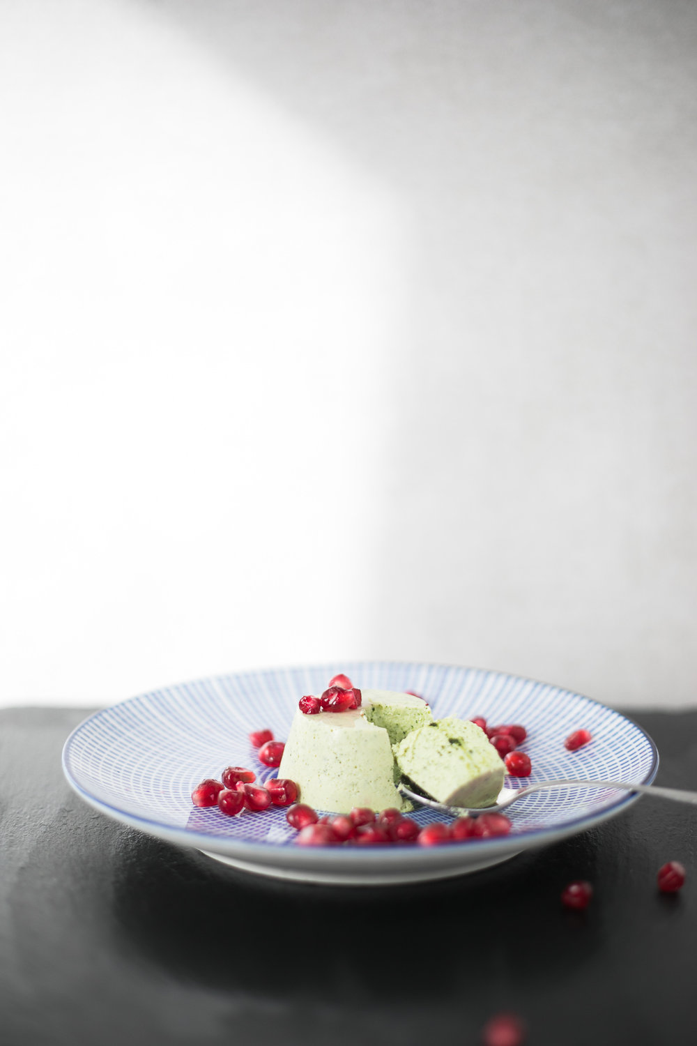 Chloe Edwards food photography Bristol matcha green tea panna cotta with pomegranates heapwell superfoods 2--3.jpg