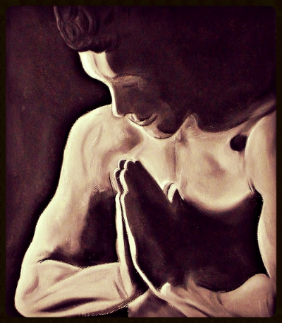 Prayer - by Pippa-la Doube. Charcoal drawing on archers rag paper