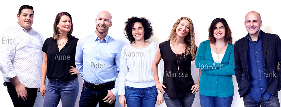 Left to Right: Eric - business development,  Anne - marketing,  Peter - head of creative, Naomi - studio manager, Marissa - ceo, Toni-Ann - digital imaging coordinator, Frank - senior retoucher