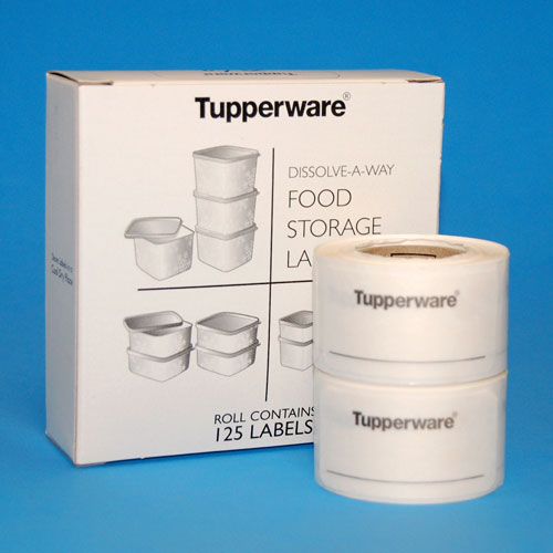 Dissolve-A-Way™ food storage labels produced for Tupperware using SmartSolve label stock.