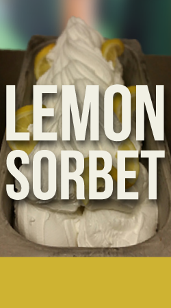 LEMON SORBET GELATO    Made with fresh squeezed lemon juice.