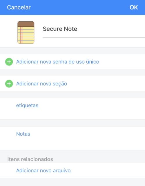 No cofre você também consegue salvar notas com informações sensíveis, como a senha do wifi da sua casa, receitas médicas e número de documentos pessoais.