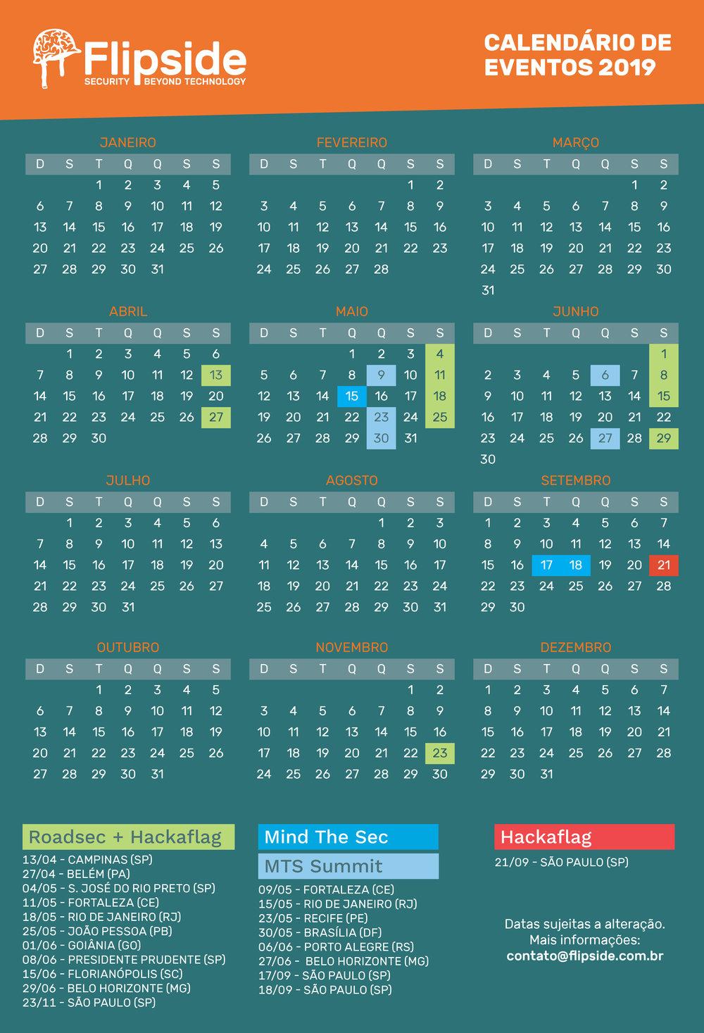 Calendário Flipside 2019