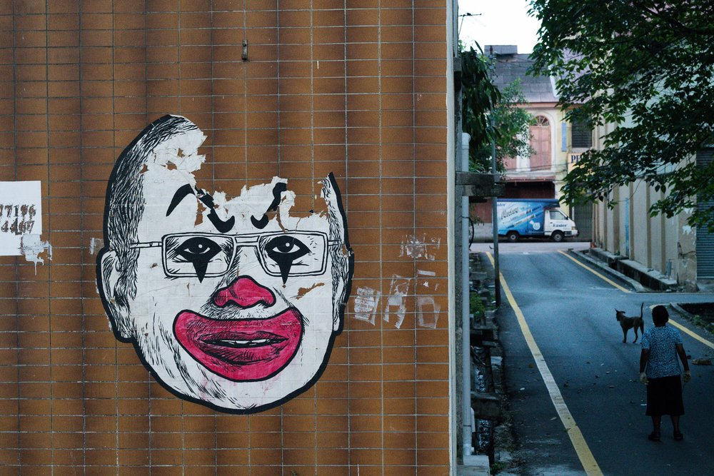 Street art in Ipoh - and the sole photo we have from that miserable town..