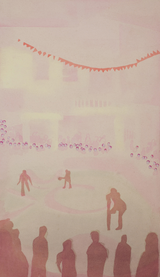"Game in Pink,  2012, pastel, acrylic, photo transfer and fabric on canvas, 18"" x 31"""
