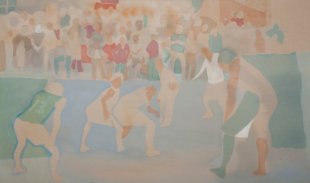 "Game in Blue , 2012, pastel, acrylic and fabric collage on canvas, 40"" x 25"""