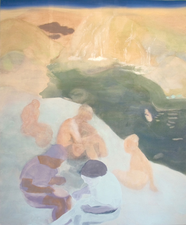 near where the two rivers meet , 2009, pastel and acrylic on canvas, 5' x 6'