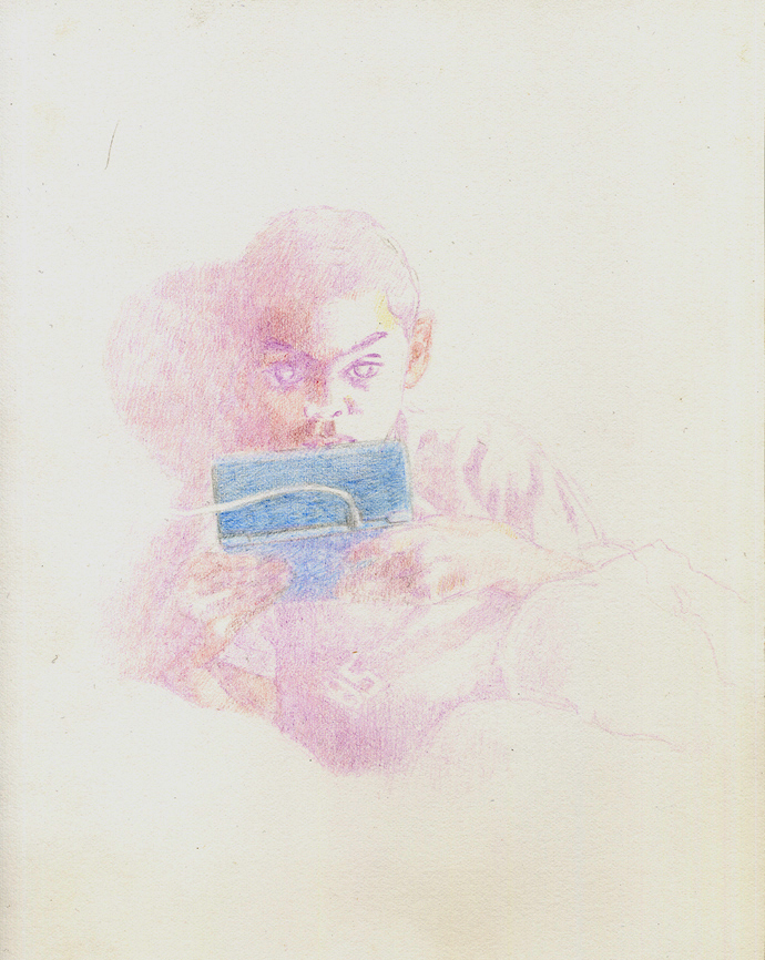 "Game Boy,  colored pencil, 2012, 7"" x 9"""