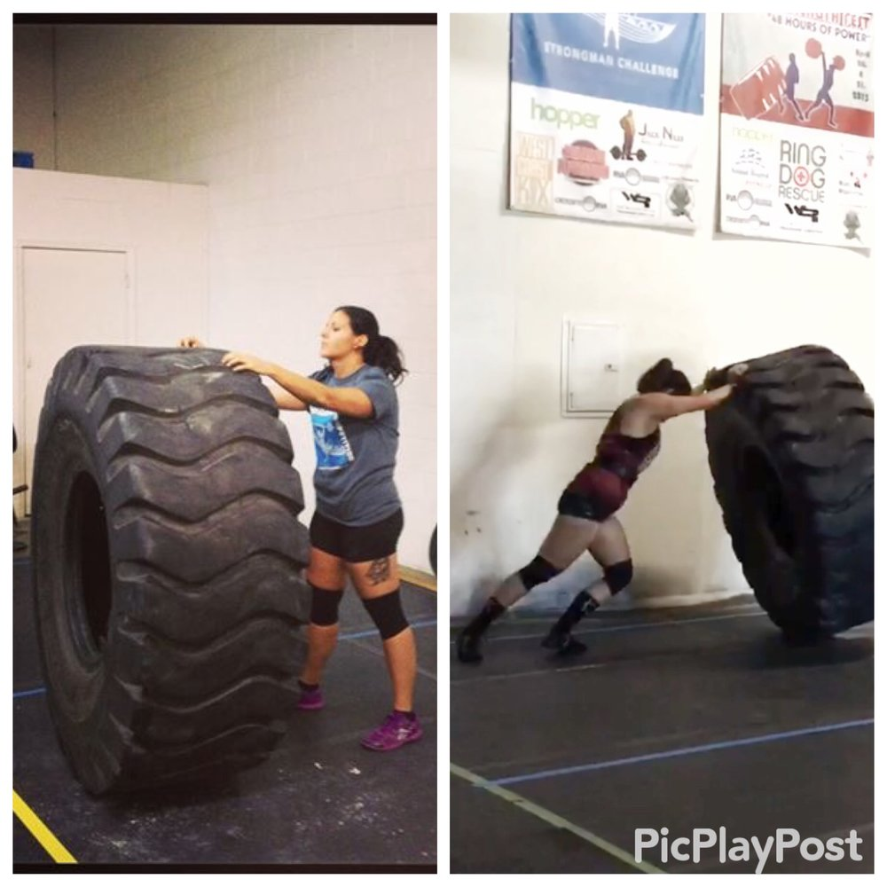 The first time I squared up with the tire (and failed to move it) vs. Saturday.