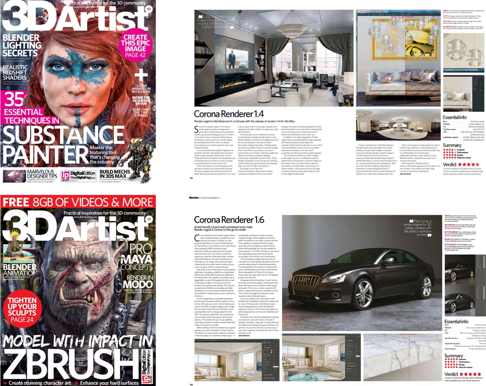 I have had the opportunity to review Corona Renderer a couple of times as part of the 3D Artist magazine Expert Panel.