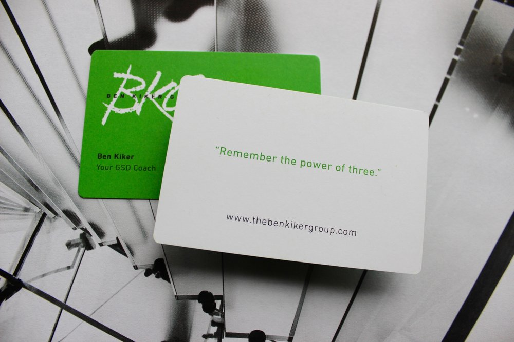 How strongly do I believe in the power of three? It's on the back of my business card!