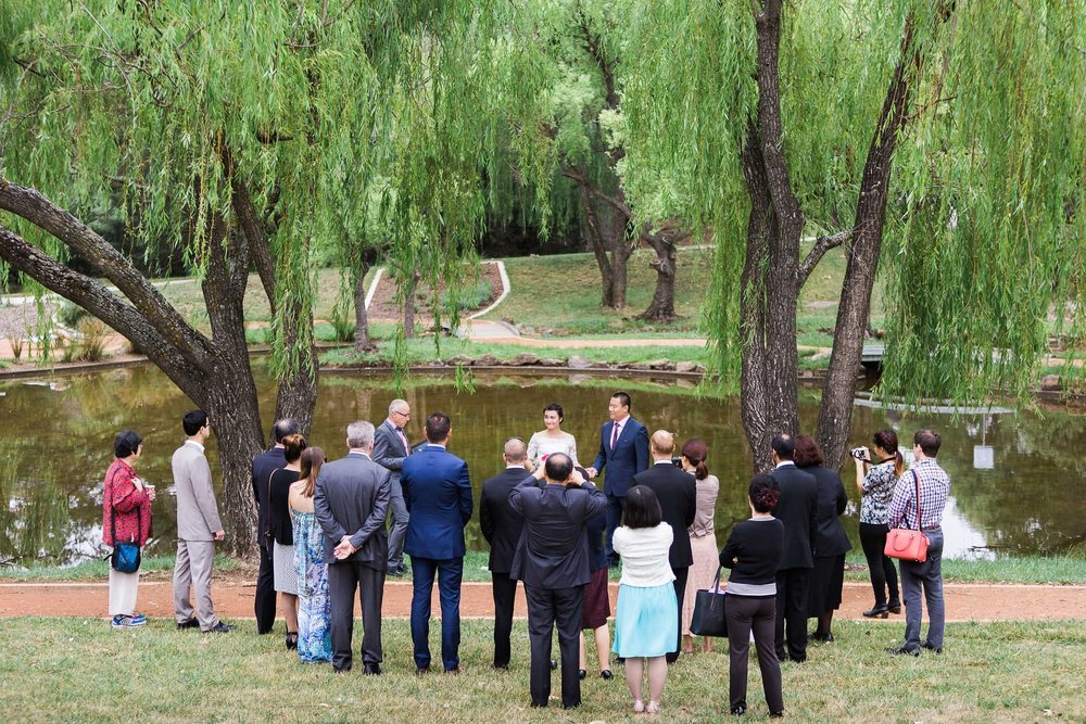 Small wedding by the ponds in Canberra