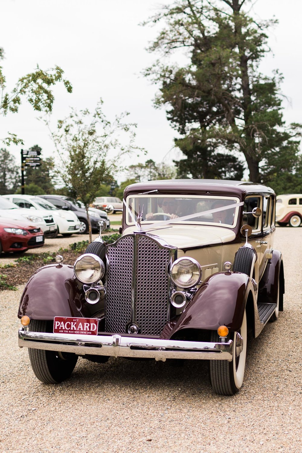 Bride arriving in a Classic Car at Pialligo Estate - Canberra Small Weddings