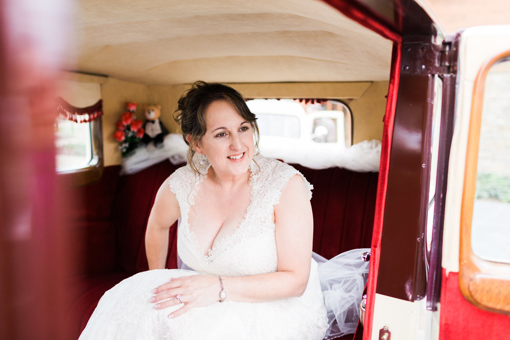 Bride In Classic Car - Pialligo Estate Wedding