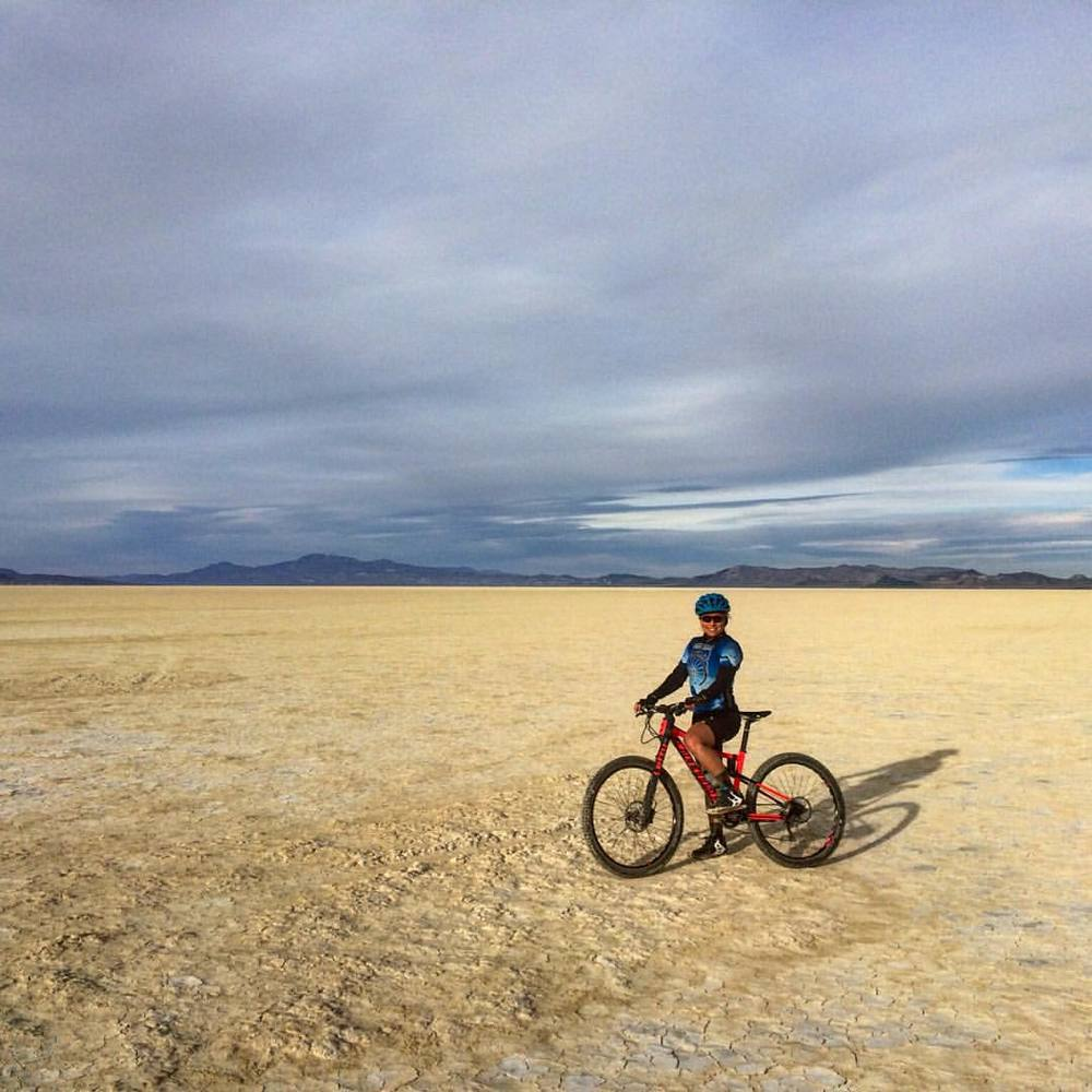 "Riding a Cannonade ""Habit"" I've named ""Lady Bug"" in the Black Rock Desert."