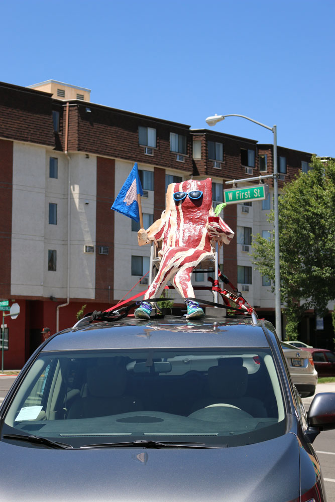 The Bacon-man made many people's days brighter. In addition to winning the RTO van decorating contest, this guy made runners, drunks, and random people smile for approximately 22 hours.