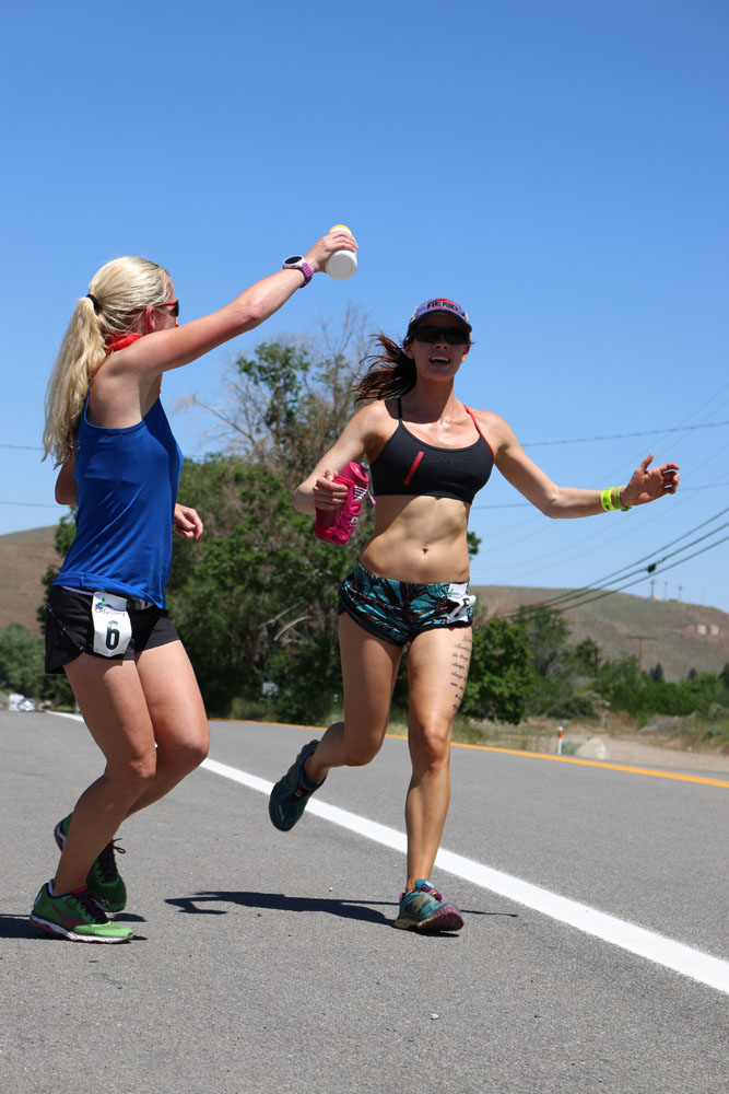 Brooke, running in 90+ degree heat en route to Verdi.