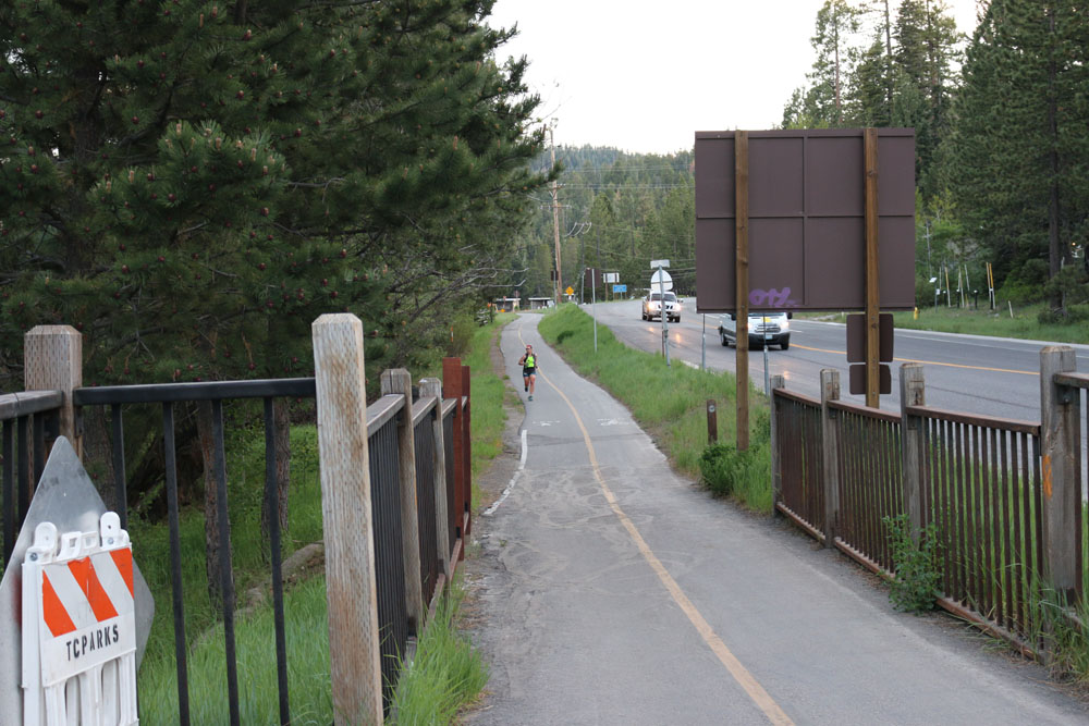 How many times did I run on this bike path (between Tahoe City and Squaw Valley?) Finishing my second leg of the race at dusk.