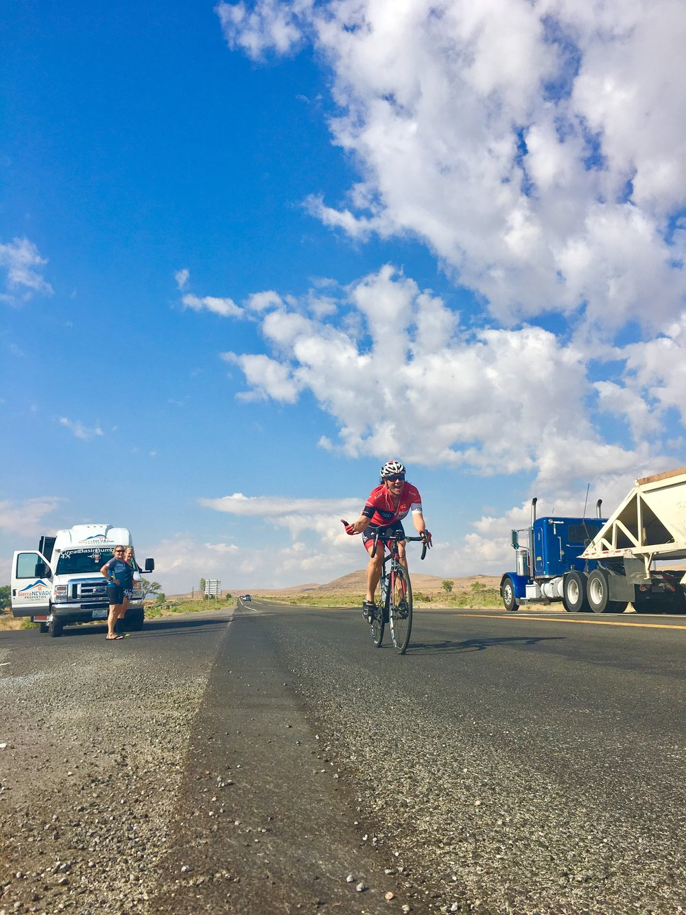 "Monica, riding along highway 50 for her ""flat and fast"" stage 2 makes it look effortless. Really fun to watch, Monica inspired us all to keep our game faces on."