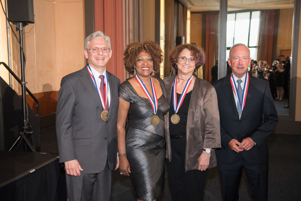 Chief Judge Merrick Garland, Rita Dove, Dr. Felice Kaufmann and Mitchell E. Daniels, Jr.
