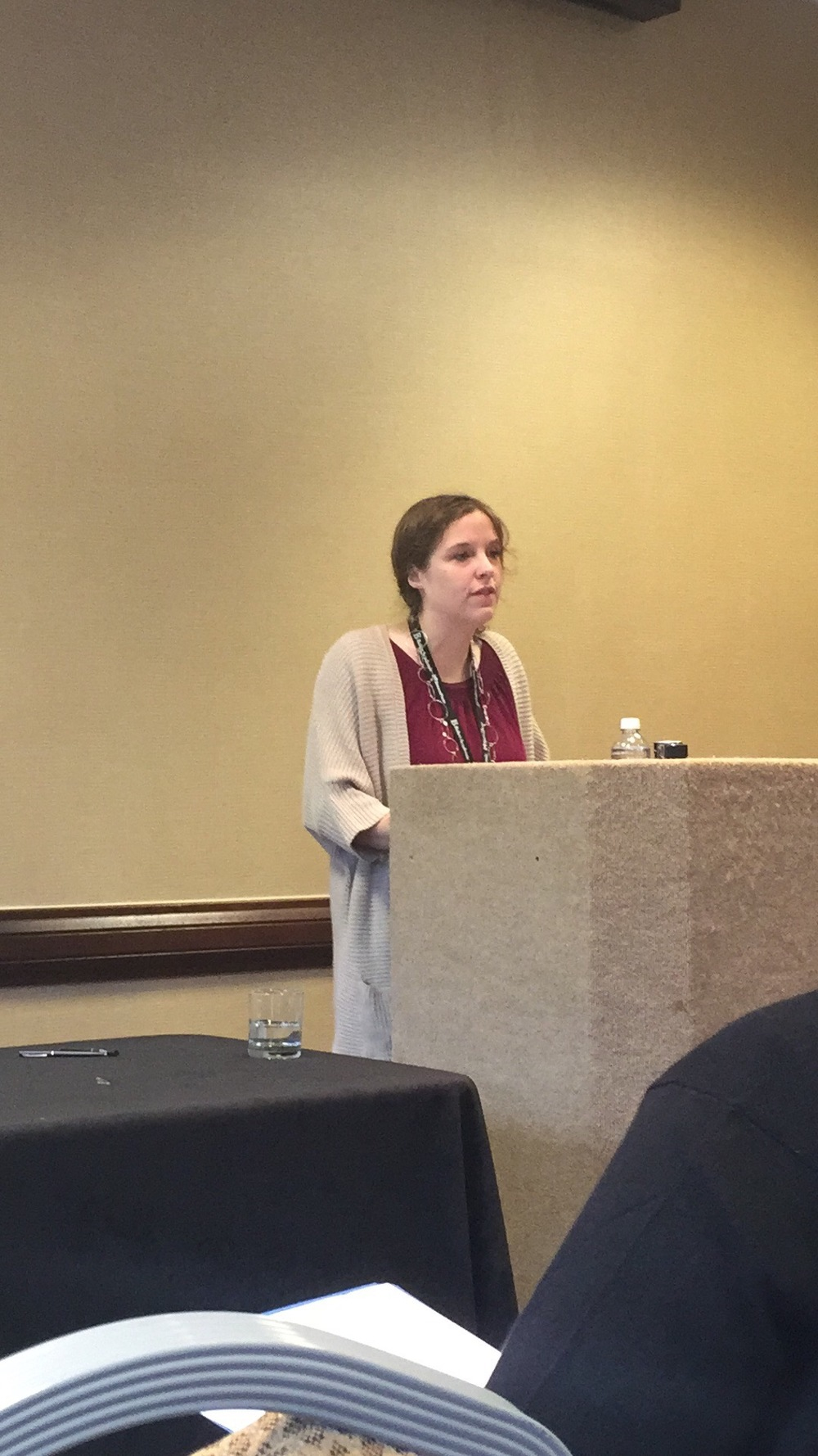 "Greta Turnball (Boston College) reading her fantastic paper, "" Should Faith Desire Evidence? A Response from the Relationship Model."""