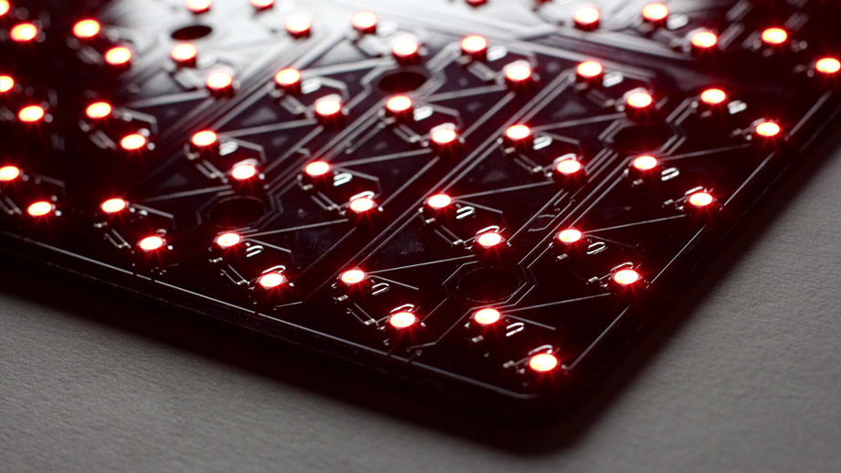 The Circuit Board of the Midi Fighter 64. These LEDs are bright!