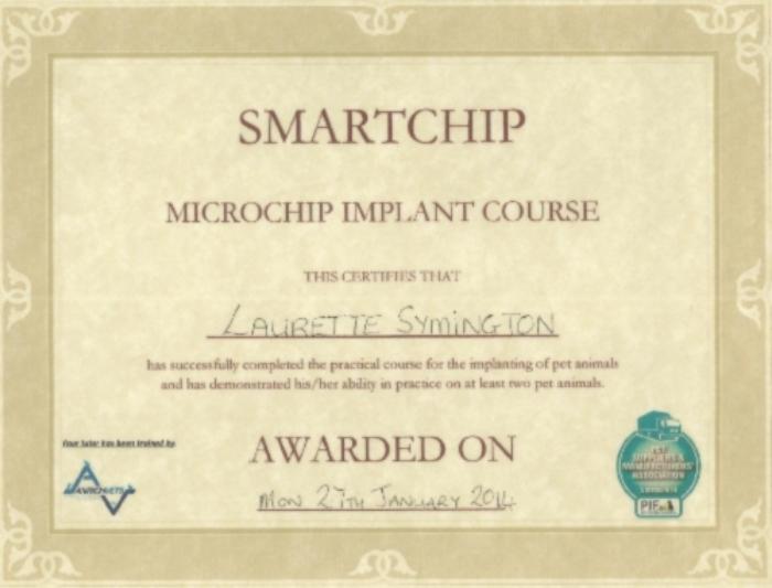 Smartchip microchip implant course - certificate