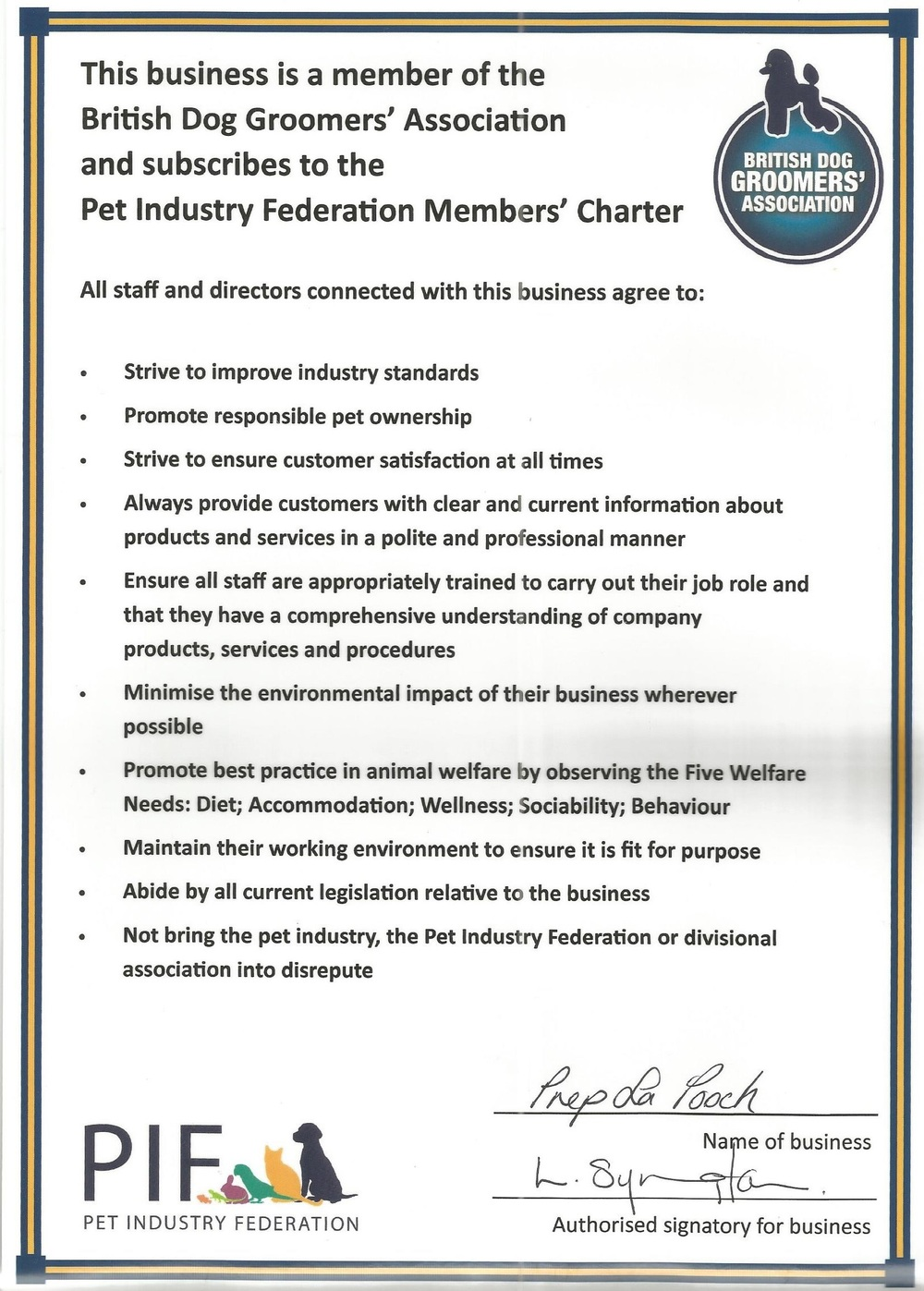 Member of British Dog Groomers' Association certificate