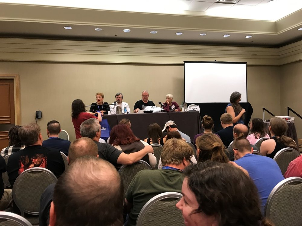 Trace is 2nd from the right and Margaret on the right.  They told great stories of the early days of TSR, the start of game fiction, and how TSR screwed them over as artists with royalties.