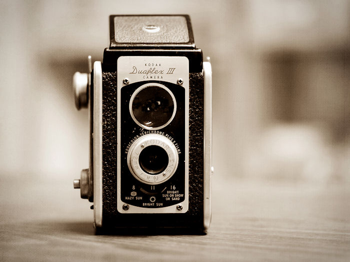 Vintage Kodak Duaflex III Camera in Monochrome | Raleigh, North Carolina | © Christy Hydeck