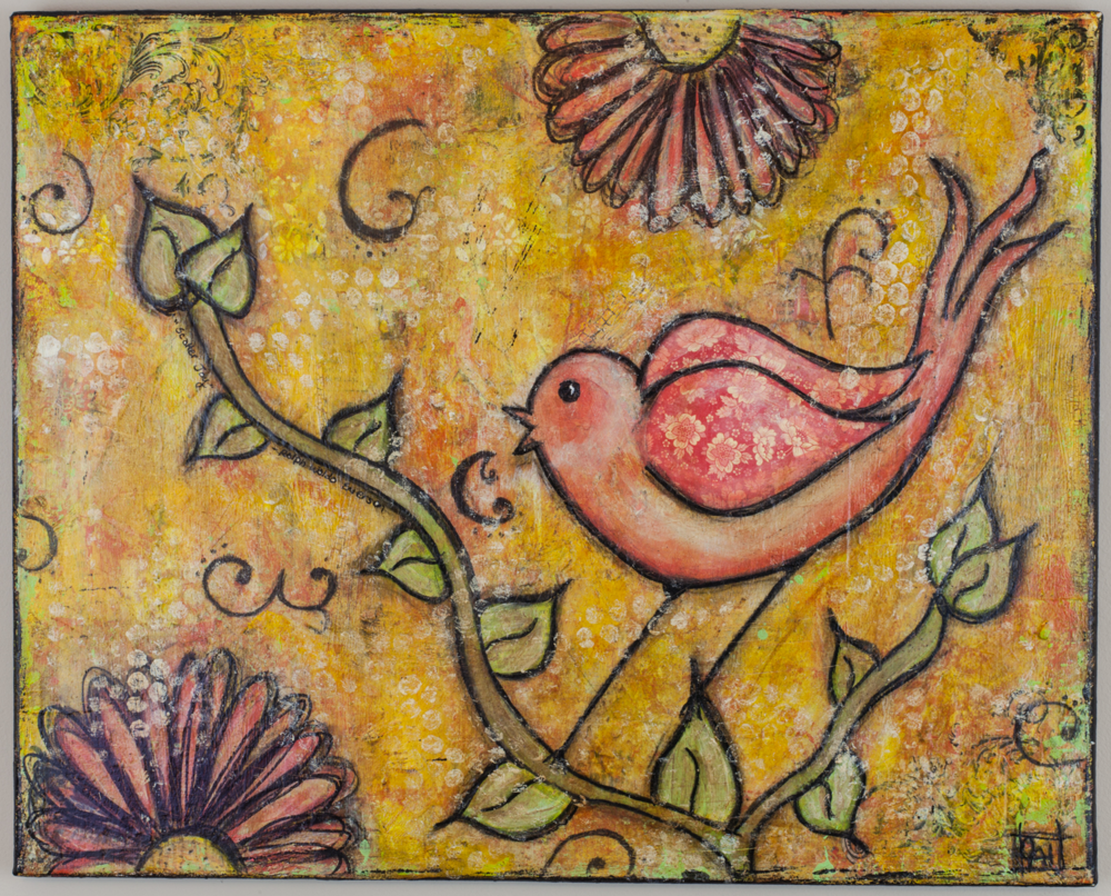 Mixed-Media Bird Painting by Chrysti Hydeck | Created in Raleigh, North Carolina