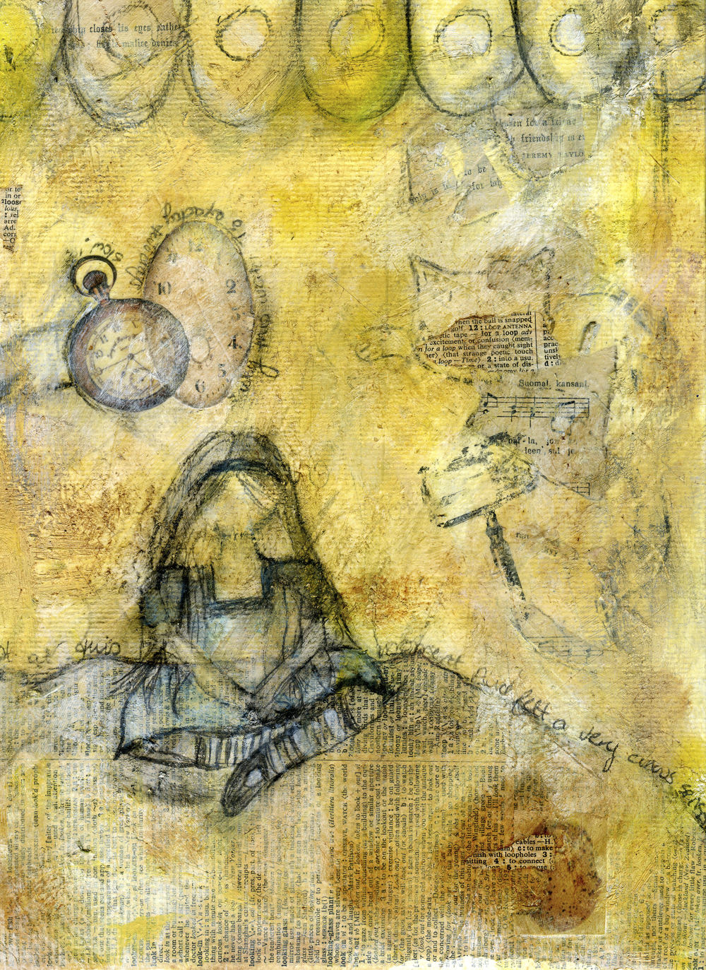 Work-In-Progress 2 - Can you see it begin to come together?  | Down The Rabbit Hole | Mixed-Media | © Christy Hydeck