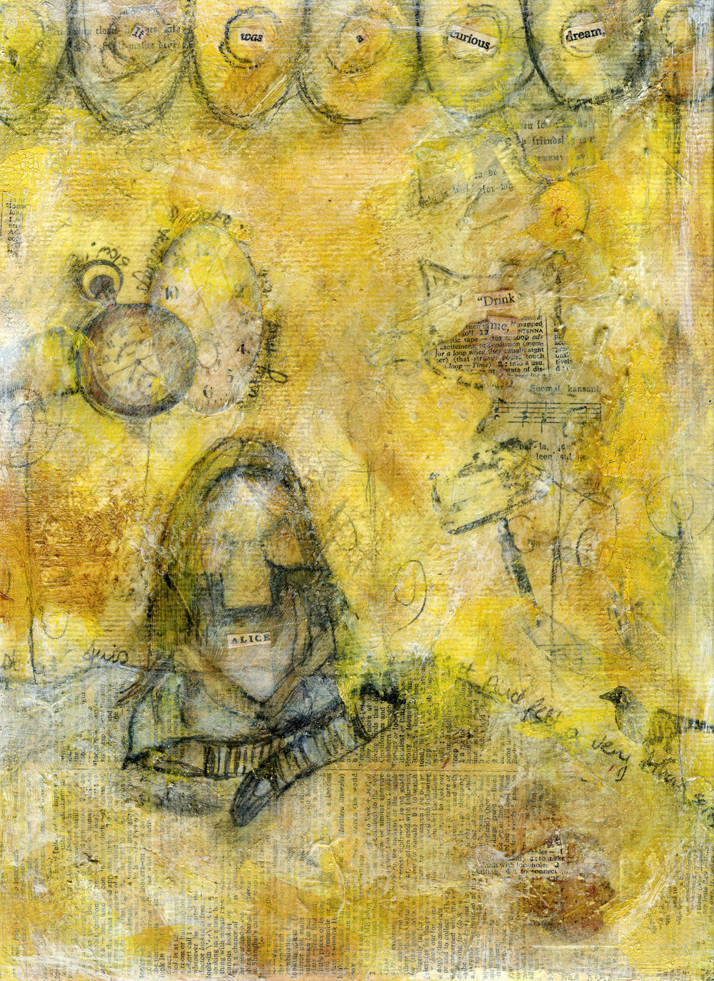 Work-In-Progress 3  | Down The Rabbit Hole | Mixed-Media | © Christy Hydeck