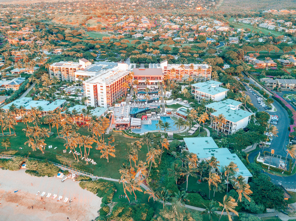 Aerial views of the Andaz Maui in Wailea. On this post, I write a review of my experience staying at this incredible resort in Hawaii.