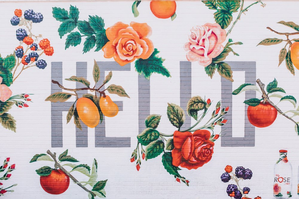 Floral graphic design inspiration created by watercolor flowers and fruits.