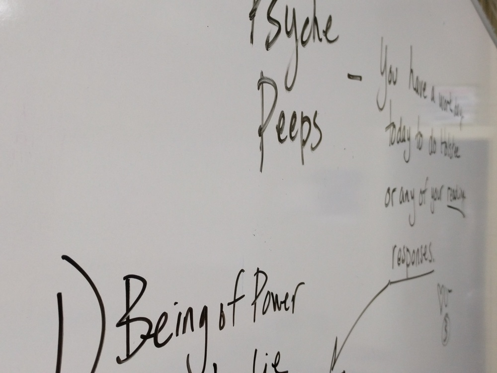 A photo of the classroom whiteboard.