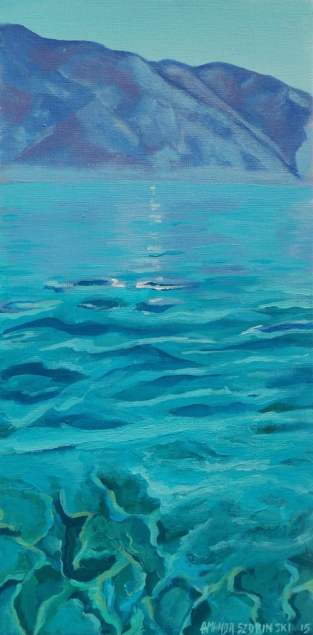 Sea to Sierras I   6 x 12 acrylic on canvas card stock  $150 (unframed)