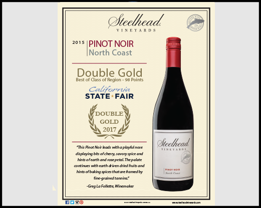 2015 Pinot Noir - Double Gold, CA State Fair