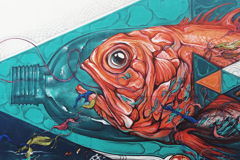 Mural addressing plastic pollution - @HOUSEOFMEGGS X @PHIBSHASINSTAGRAM