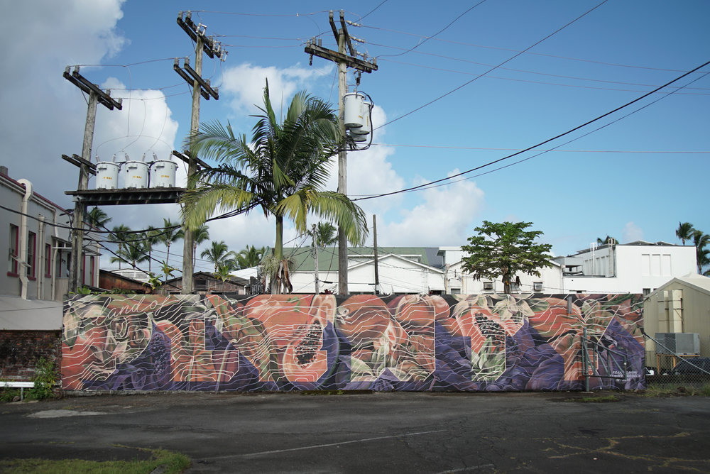 MURAL BY RICK HAYWARD AND EMILY DEVERS (@FRANKANDMIMI) AT HILO BACKPACKER'S HOSTEL PARKING LOT.