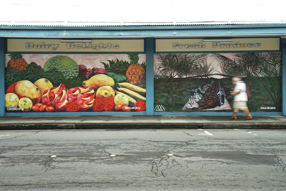MURAL BY KAI'ILI KA'ULUKUKUI (@ARTWORKOFKAI) AT DOWNTOWN KTA ON KEAWE STREET.