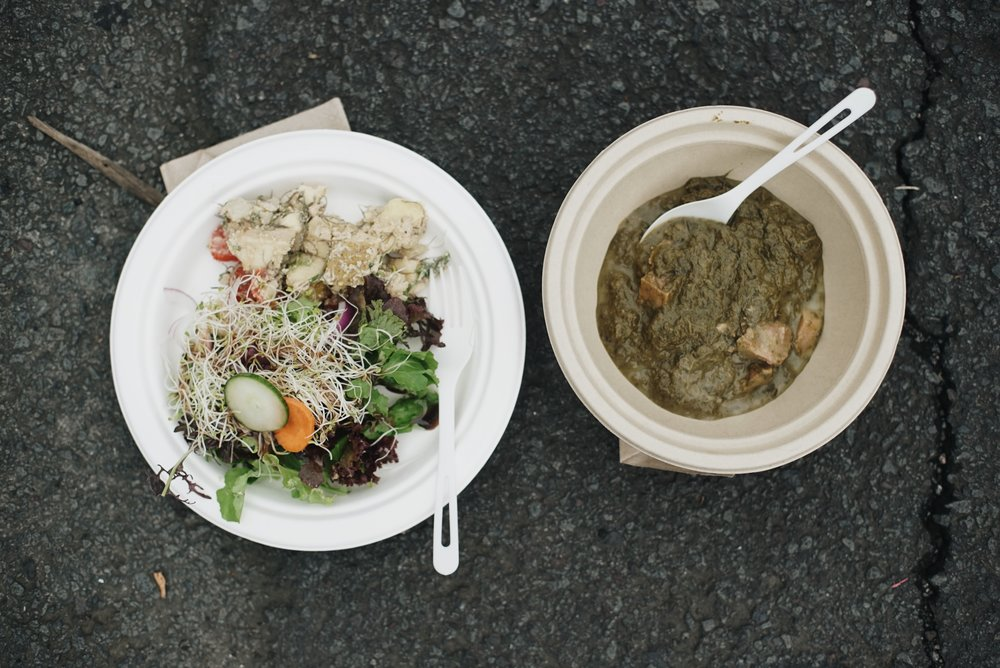 'Ulu poke, local greens, and kalo stew - a hearty and healthy lunch donated by Sweet Cane Cafe.