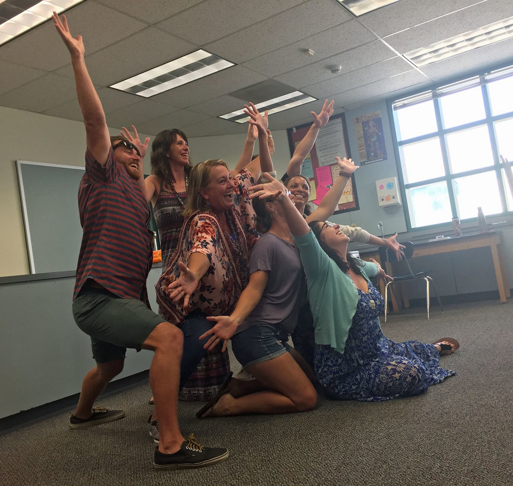 Middle school educators personify an emotion using the arts-based skill & strategy of tableau.
